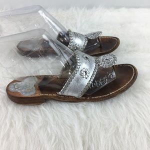 Calypso Jack Rogers Sz 7 silver sandals flip flops